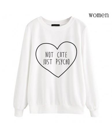 Women Black white fleece sweatshirt NOT CUTE JUST PSYCHO Letter Print hoodies long sleeve 2019 autumn pullovers brand tracks...