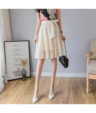 2019 Fashion Black Apricot Lace Skirt Summer Women High Waist Elegant Bow Skirt Plus Size Harajuku Casual ALine Midi Party S...