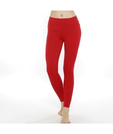 Light Purple Navy RED Solid Buttery Soft 210gsm High Quality Plus Size Women Fitness Legging - RED without pocket - 4I307202...