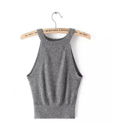 New Womens Halter Cut Away Tight Knit Crop Top Cropped Top Sleeveless Camis Tank Tops Beach Sweater Tops - Grey - 4235085338...