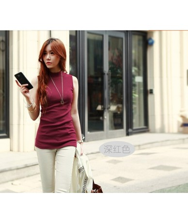 women Summer style sleeveless solid color Blouses & Shirts cotton Shirts women lady Vest 10 colors - Burgundy - 413740493137-7