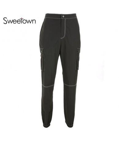 Street Style Cargo Pants Women Black Pocket Patchwork Pantalon Long Femme Streetwear 2018 High Waist Jogger Trousers - black...
