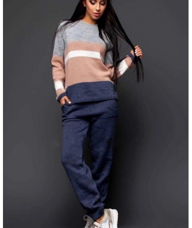 Women Hit Color Patchwork Knitted Pullovers+Pants 2 Pieces Clothing Sets Casual Patchwork Tracksuits - Sky Blue - 4J30384046...