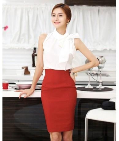 Pencil Skirt Women Plus Size High Waist Slim Hips Candy Color Formal Saias Feminino Lady Classic Knee Length Office Skirts -...