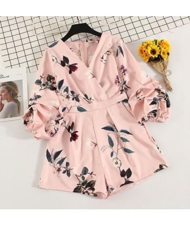 Women's V neck lantern sleeve Print Playsuits Lady's Vintage Spring Summer Wide leg shorts imitation satin Jumpsuits TB687 -...