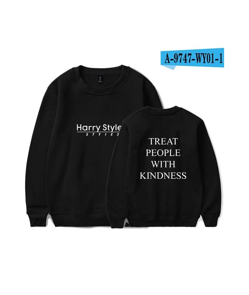 Simple Print Sweatshirts Harry Styles Treat People With Kindness Women/Men Long Sleeve O-Neck Casual Sweatshirts - black - 4...