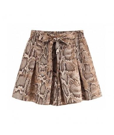 women snake pattern shorts bow tie sashes elastic high waist pockets animal pattern chic shorts pantalones cortos SA177 - as...