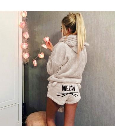 Women Two Piece Set 2018 New Autumn Winter Pajamas Warm Coral Velvet Suit Sleepwear Cute Cat Pattern Hoodies Shorts set - Pi...