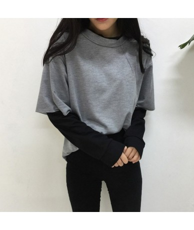 Women O-Neck Patchwork Sweatshirt Harajuku Long Sleeve Black Hoodies Women 2019 Spring Loose Sweatshirts Woman Faux 2 Pieces...