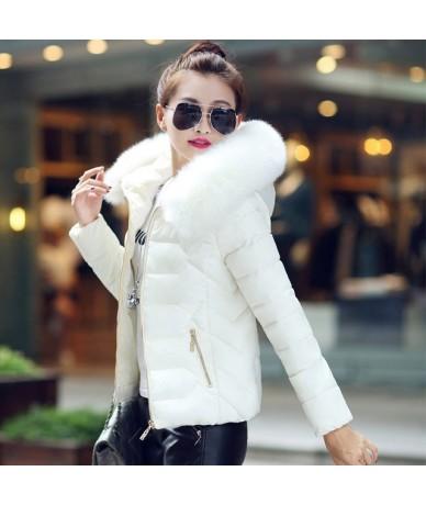 S-2XL Winter Coat Casual Cotton Down Jacket Hoodie Parkas Big Fur Collar Clothes Slim Fit Keep Warm Female Coat 611MC18 - Wh...