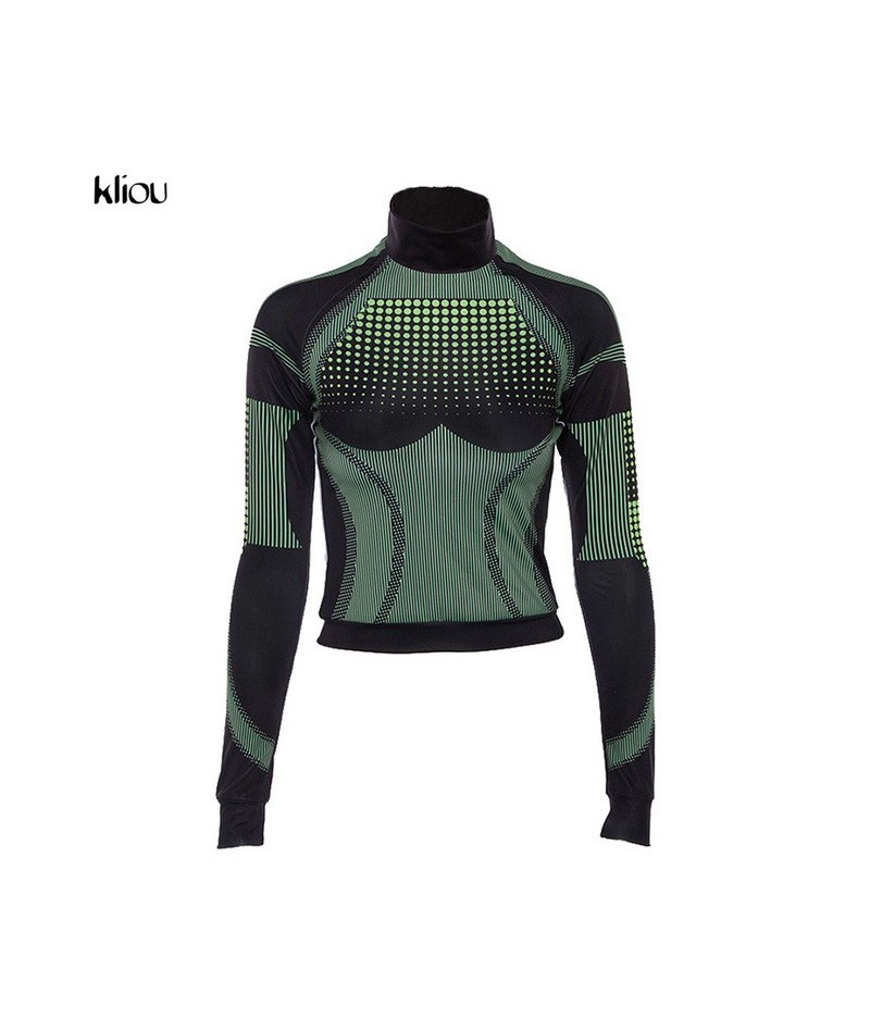 women fashion fitness sporting tracksuit turtleneck full sleeve top elastic high waist leggings 3D print striped outfits - g...