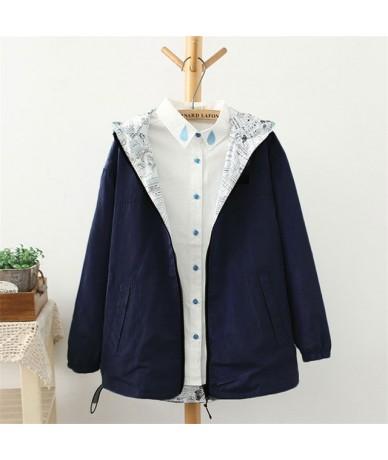 Spring Autumn 2019 Fashion Women Jacket Coat Pocket Zipper Hooded Two Side Wear Cartoon Print Outwear Loose 65724 - 65724 N...