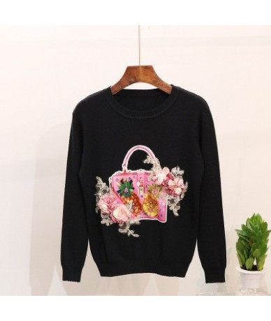 Flower Appliques Beading Sweet Girl Sweater Solid O-Neck Women Pullover 2019 Auttum Winter New Fashion Sueter Mujer 68995 - ...