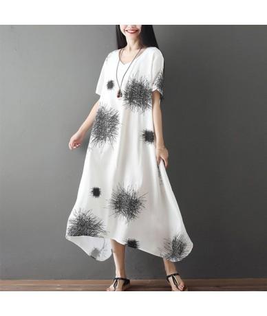 cotton linen plus size vintage floral women casual loose long summer elegant sun dress clothes 2019 ladies dresses sundress ...
