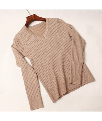 High Quality Thick Glitter Women Pullover Sweater Ribbed Knitted Tops Slim Fit Female Jumper Autumn Winter V-Neck Ladies Swe...