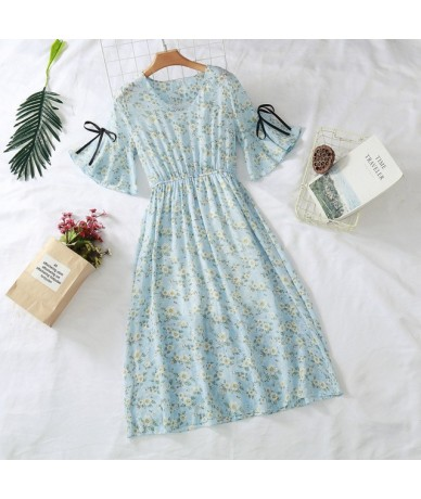 7 colors 2019 new women's chiffon dress print V-neck dress spring and summer ruffled short-sleeved bow dress large size S-3X...