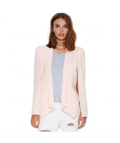 Xs -Xxl 6 Size Women Fashion White Black Lapel Split Long Sleeve Pockets Casual Blazer Cape Suit Workwear Women 'S - Pink - ...
