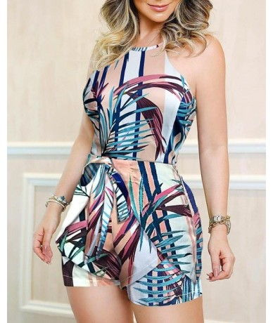 Women Summer Jumpsuit One Piece Overalls Sexy One Shoulder Knotted Detail Abstract Print Rompers Ladies Playsuits Streetwear...