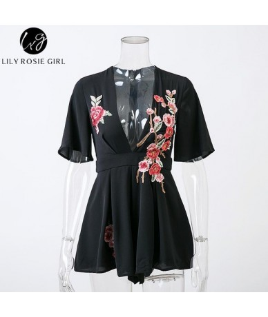 Deep V Neck Black Embroidery Sexy Playsuits Women Summer Beach Bow Short Rompers Party White Jumpsuits Overalls - black - 32...