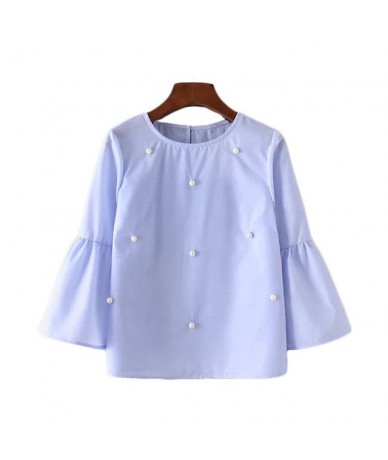 Women elegant pearls beading flare sleeve shirt O neck blouse three quarter sleeve summer brand casual tops blusas - Sky Blu...