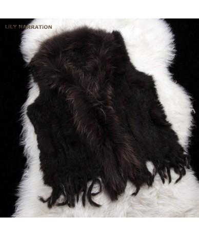 Fur Vest Real Rabbit Women Gilet With Fur Trimming Tassels Female Waistcoat Lady Real Fur Gilet Colete Feminino De Inverno -...