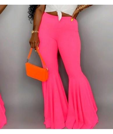 Neon Green High Waist Flare Pants Beach Trousers Ladies Fashion Elastic Slim Pants Wide Leg Vintage Tunic Female Autumn Clot...