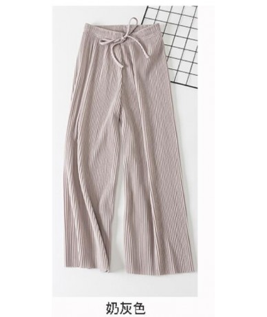 girl pants Lace-up nine-point chiffon pleated wide-leg pants women loose high waist slim casual flared women pants long - Gr...