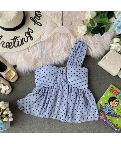 Polka Dot Women Blouse Summer 2019 New Skew Collar Sleeveless Blusa Sexy Bowknot Cross Ladies Shirts 44517 - Light blue - 4V...