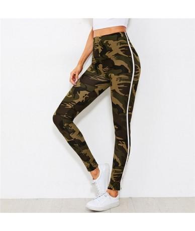 Camo Print Tape Side Leggings New Fashion Multicolor Striped Woman Trousers Stretchy Long Fitness Leggings - Multi - 4539557...