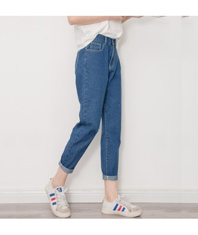 2019 new slim tights retro high waist jeans women's four seasons pants full length pants loose pencil jeans S-XXL - Dark blu...