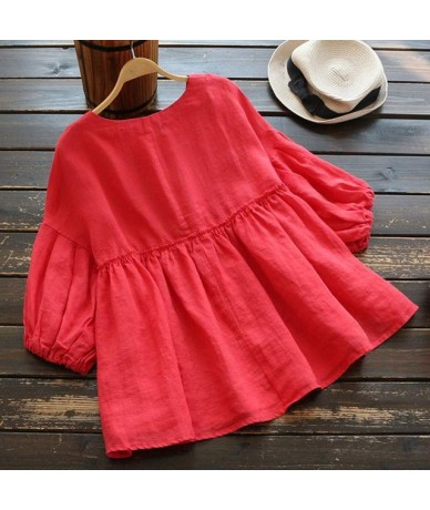 2019 Ruffle Top Women's Linen Blouse Fashion Woman Tunic Vintage 3/4 Lantern Sleeve Blusas Plus Size Tee Shirts S-5XL - Red ...