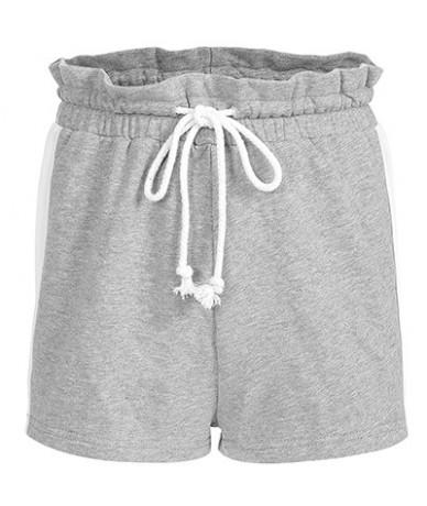 High Street Panelled High Waist Drawstring Ruffles Shorts Women 2019 Summer Streetwear Ladies Short Feminino Shorts - Gray S...