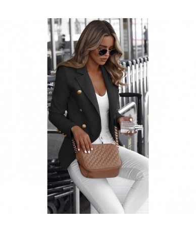 Women Blazers Full Sleeve Notched Neck Slim Coat Ladies British style Casual Solid Blazer Plus Size 5XL Outwear Female - Bla...