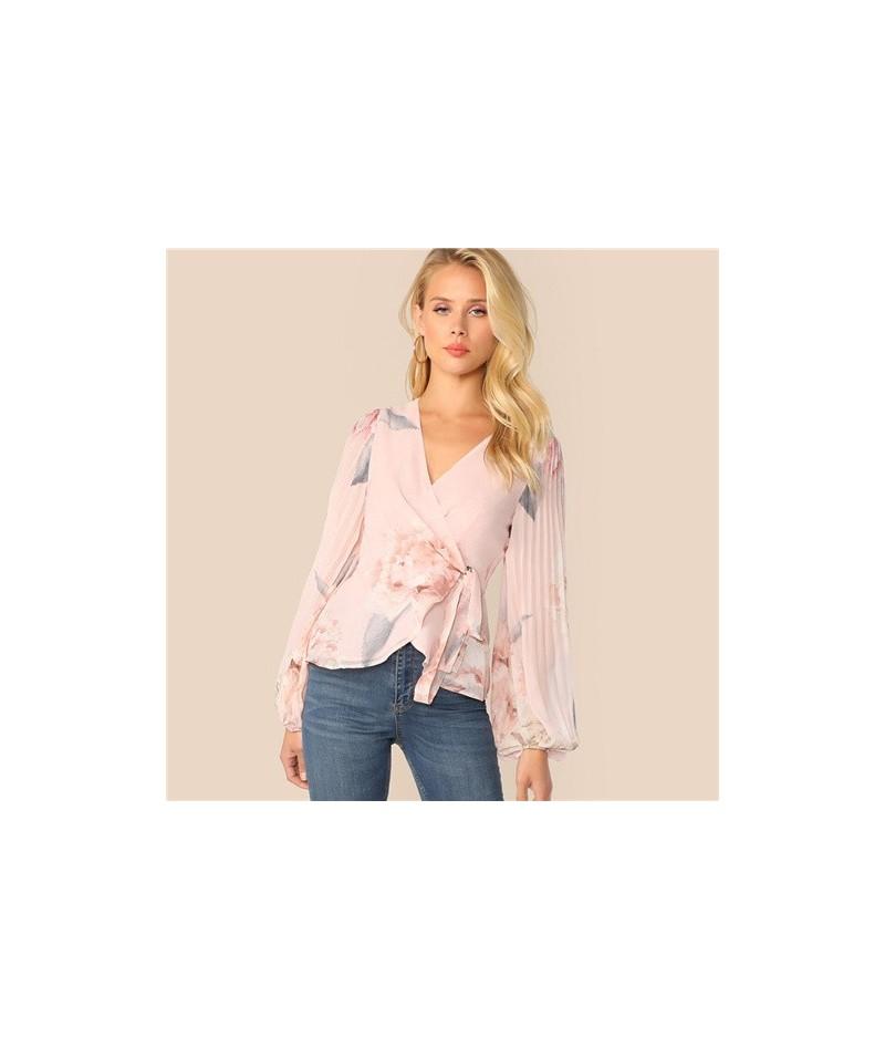 Elegant Lantern Sleeve Blouse Women 2019 Spring Pleated Floral Print Blouses Ladies Pink V Neck Wrap Chiffon Top - Pink - 4J...