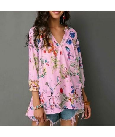 Chiffon Blouses 3/4 Sleeve V-Neck Blouse Elegant Floral Printed Blouse Casual Loose Shirt Feminino Blusa Tops NS3975 - pink ...