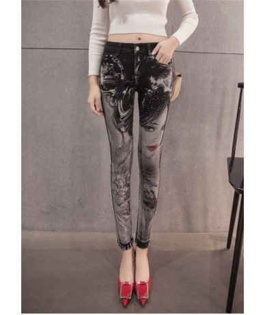 Black jeans woman Fashion Pencil jean pants Girl drilling printing rhinestones Long jeans Skinny womens Female D335 - 6115 -...
