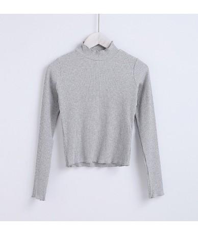 Women Cotton High Neck Long Sleeve Rib Crop Top With Ruffled Trimmings High Neck T-shirt - gray - 4K3937980050-2