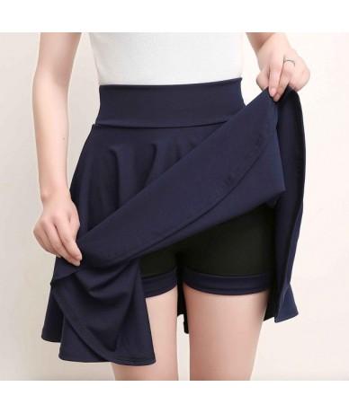 Plus Size 4XL Shorts Skirts Womens 2018 Summer A line Sun School High Waist Pleated Skirt Female Korean Elegant Skirt - dark...