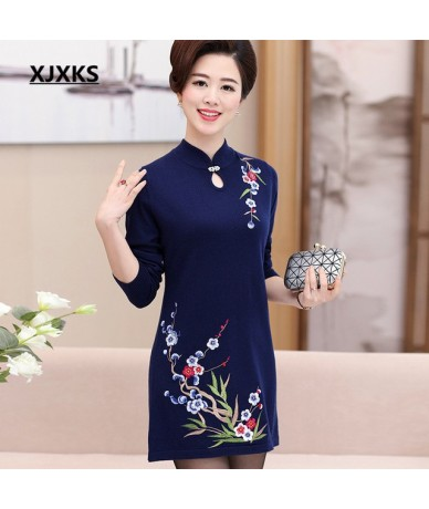 2018 new spring women embroidery long sweater dress fashion loose big yards dress high quality ladies sweater - Navy Blue - ...