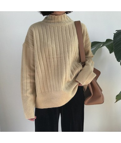 2016 winter Solid color stripe turtleneck sweater thickening womens sweaters and pullovers womans (A9218) - beige - 4T388898...