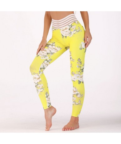Casual Pink yellow Floral Pattern Digital Print Leggings High Waist Fitness Stretch Pants Athleisure Female Workout Leggings...