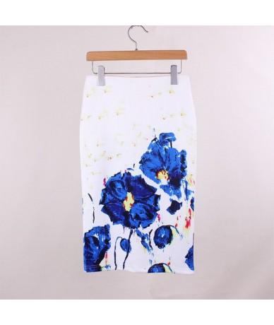 Summer Fashion skirt Floral print H type high waist Elegant Vintage pencil skirt Split the fork female knee length - 62 - 4A...