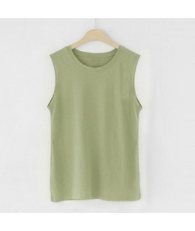 new fashion women sleeveless t-shirt female girls loose 95% pure cotton solid color spring autumn o-neck vest tank tops Cami...
