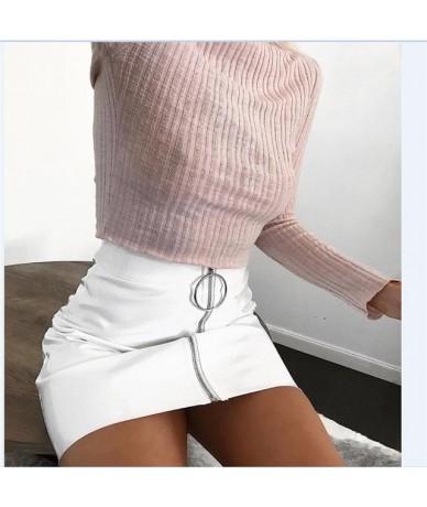 2018 New Fashion Skirt Women Zipper PU Leather Pencil High Waist Mini Skirt Sexy Bodycon Office Lady Skirt 5 Color - White -...