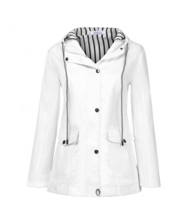 Women Solid Rain Jacket Outdoor Plus Jackets Hooded Raincoat Windproof Women's Spring Jacket - White - 433072989584-3