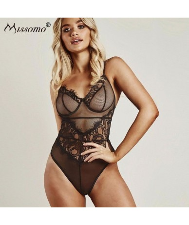 Off Shoulder Top Women Transparent Sexy Stripper Overall Lace Plus Size Bodysuit Costumes Shorts Body Playsuit Jumpsuit - Bl...