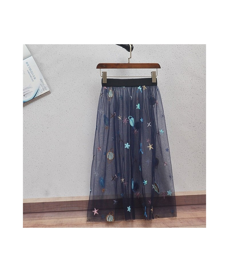 New Tulle Women Sexy Lace Mesh Skirt Summer Casual Vintage High Waist Skirts Elastic Hollow Out Transparent One Layer Skirt ...