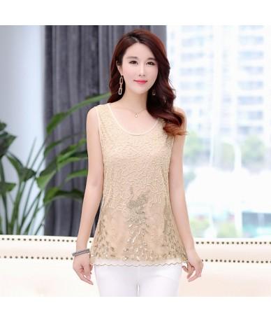 Summer New Fashion Womens Lace Tank Tops O-Neck Sleeveless Chiffon Vest 2019 Fashion Casual Plus SIze Loose T-shirt 38294 - ...