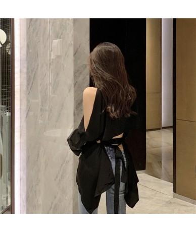 Korean Style Women Shirt Wild Cotton Temperament Off Shoulder Blouses and Tops Female Summer New 2019 Women Clothing - black...