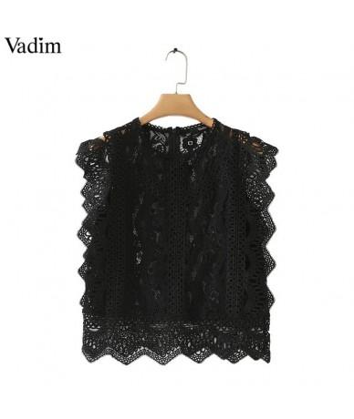women sweet lace crop top sleeveless O neck transparent blouse female hollow out short stylish shirts blusas WA242 - Black -...